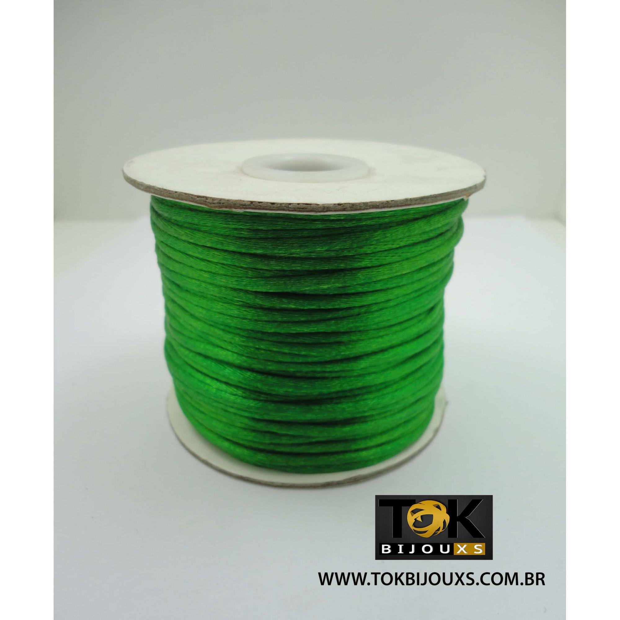 Cordão De Seda Acetinado - Rolo 50 Metros - Verde Bandeira