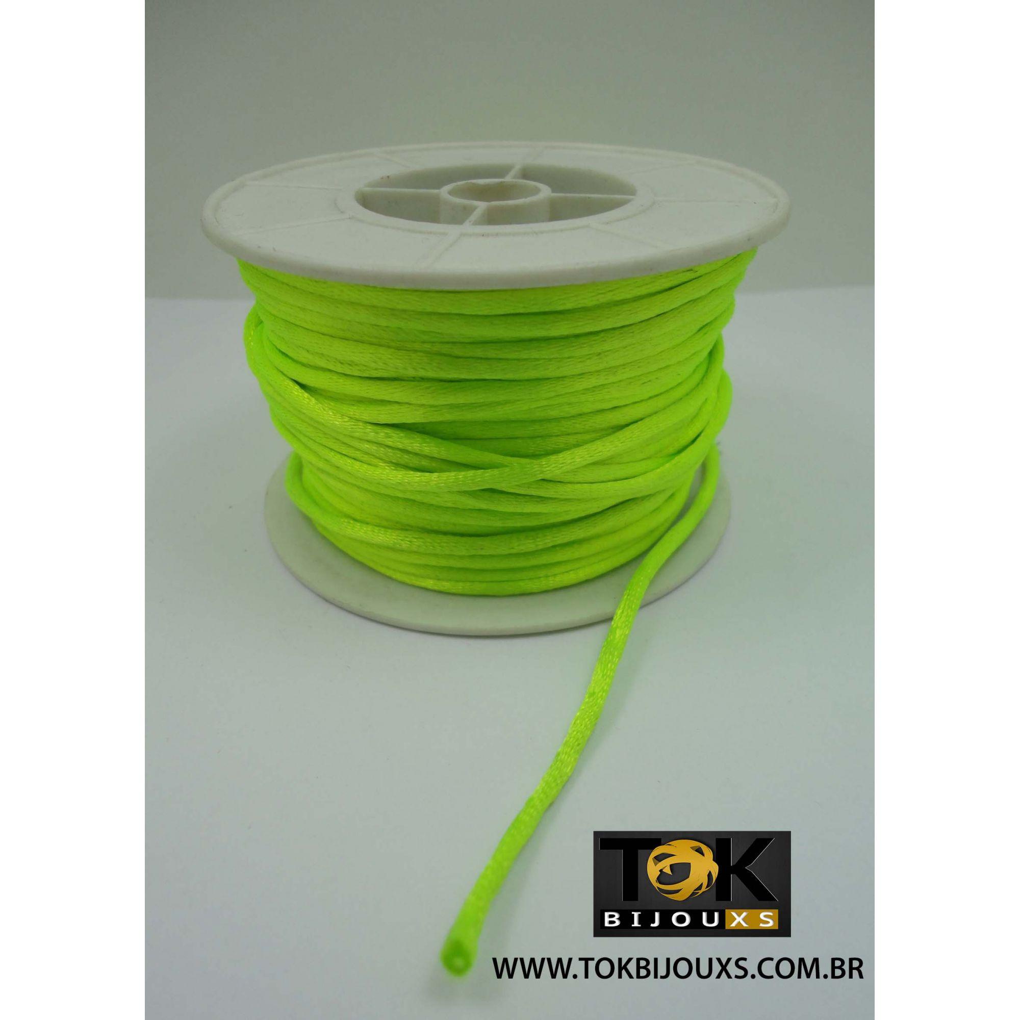 Cordão De Seda Acetinado - Rolo 50 Metros - Verde Limão Neon