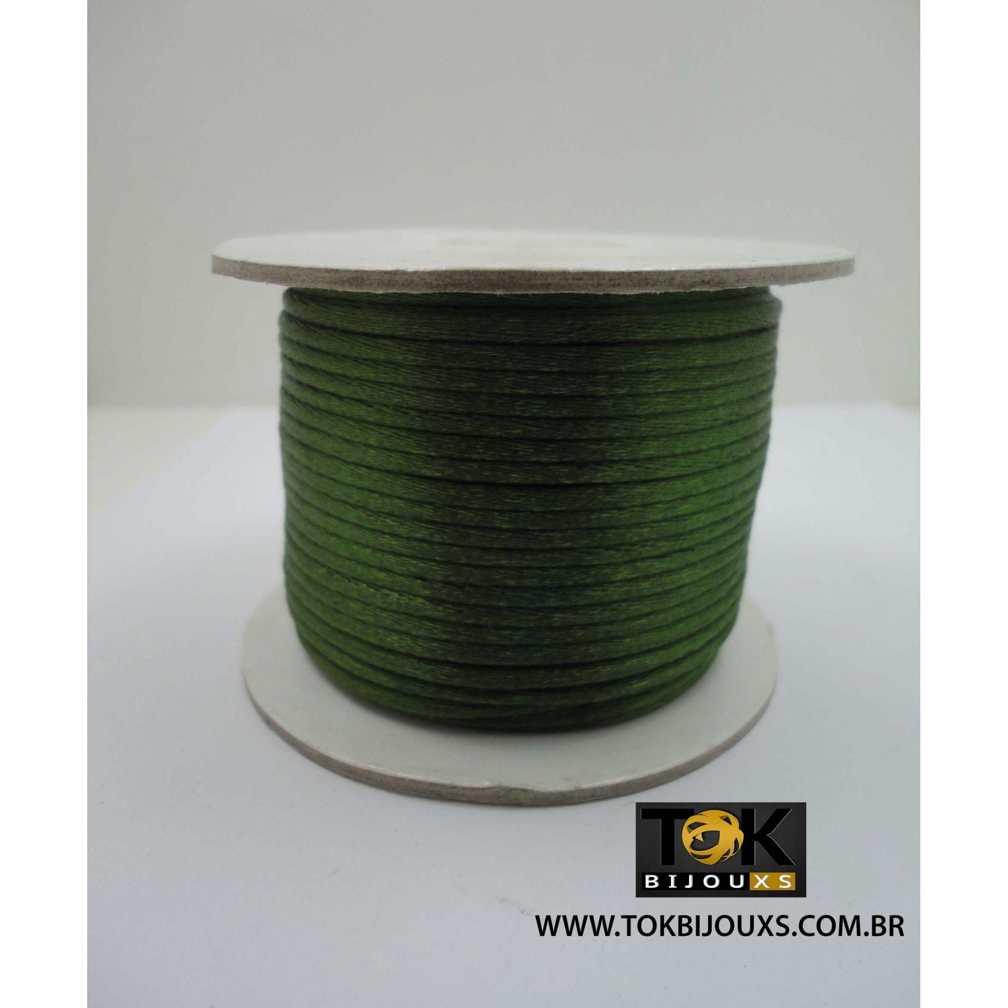Cordão Cetim 2mm - 50 Metros - Verde Musgo