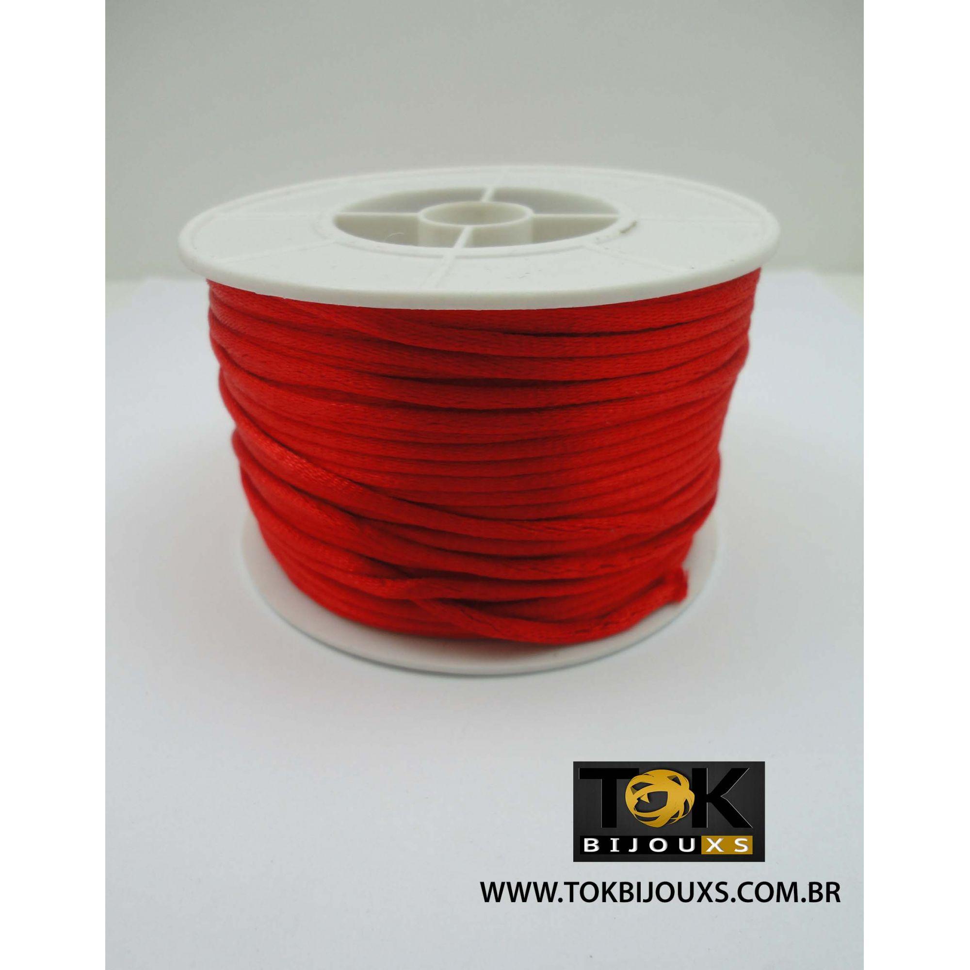 Cordão De Seda Acetinado - Rolo 50 Metros - Vermelho