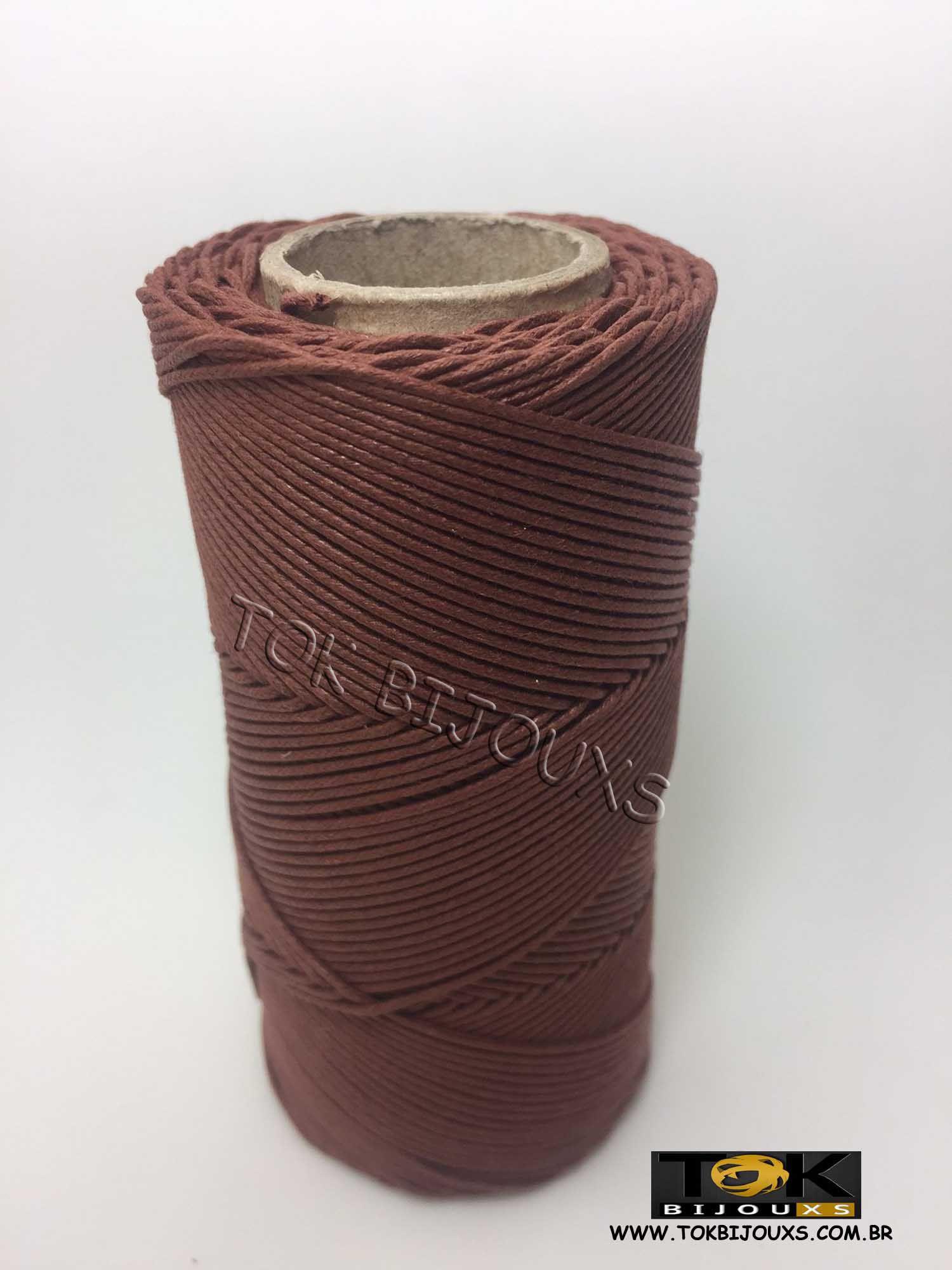 Cordão Encerado Algodão - 1,5mm - Marrom Conhaque