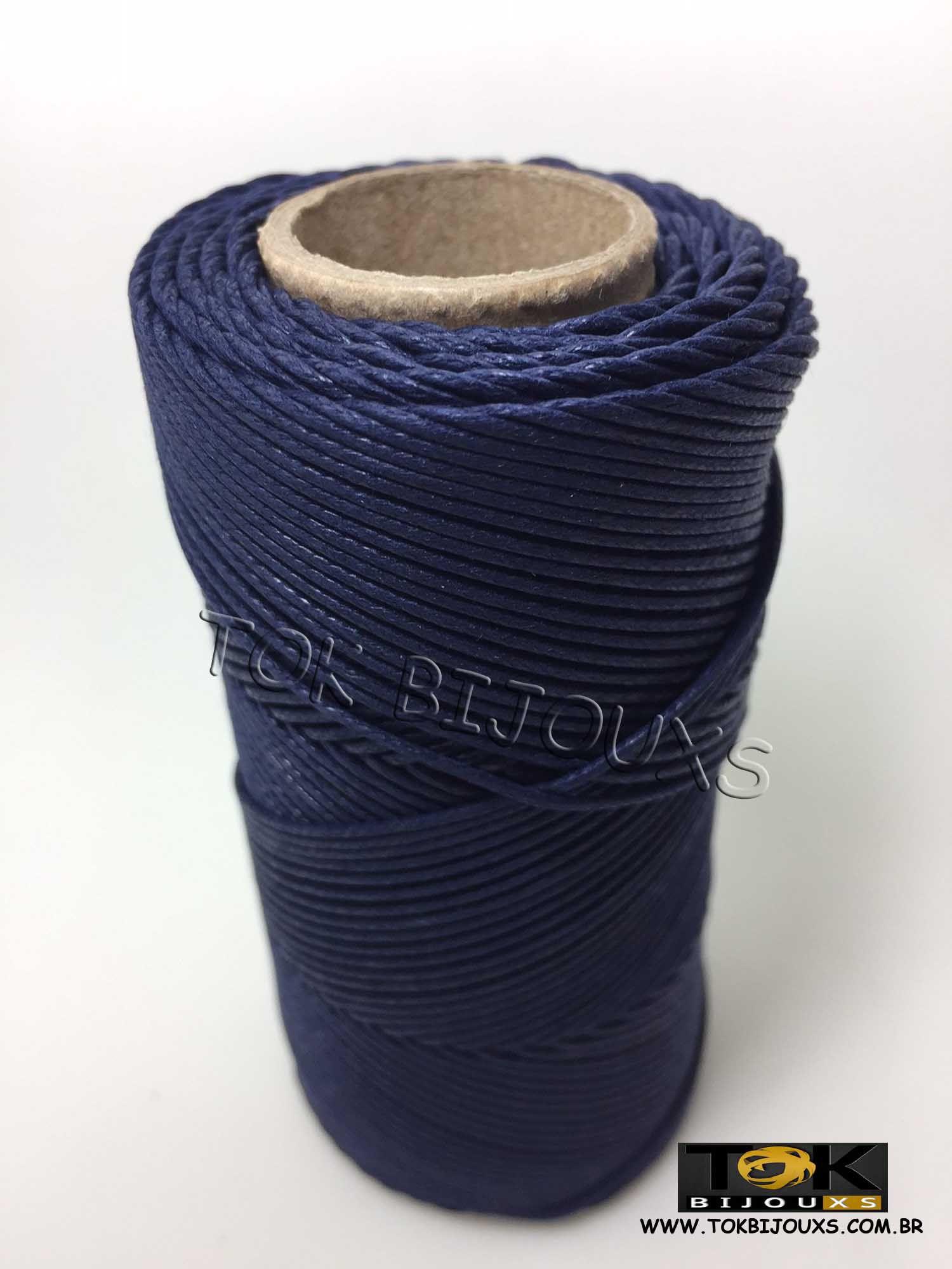 Cordão Encerado Algodão - 1mm - Azul Marinho