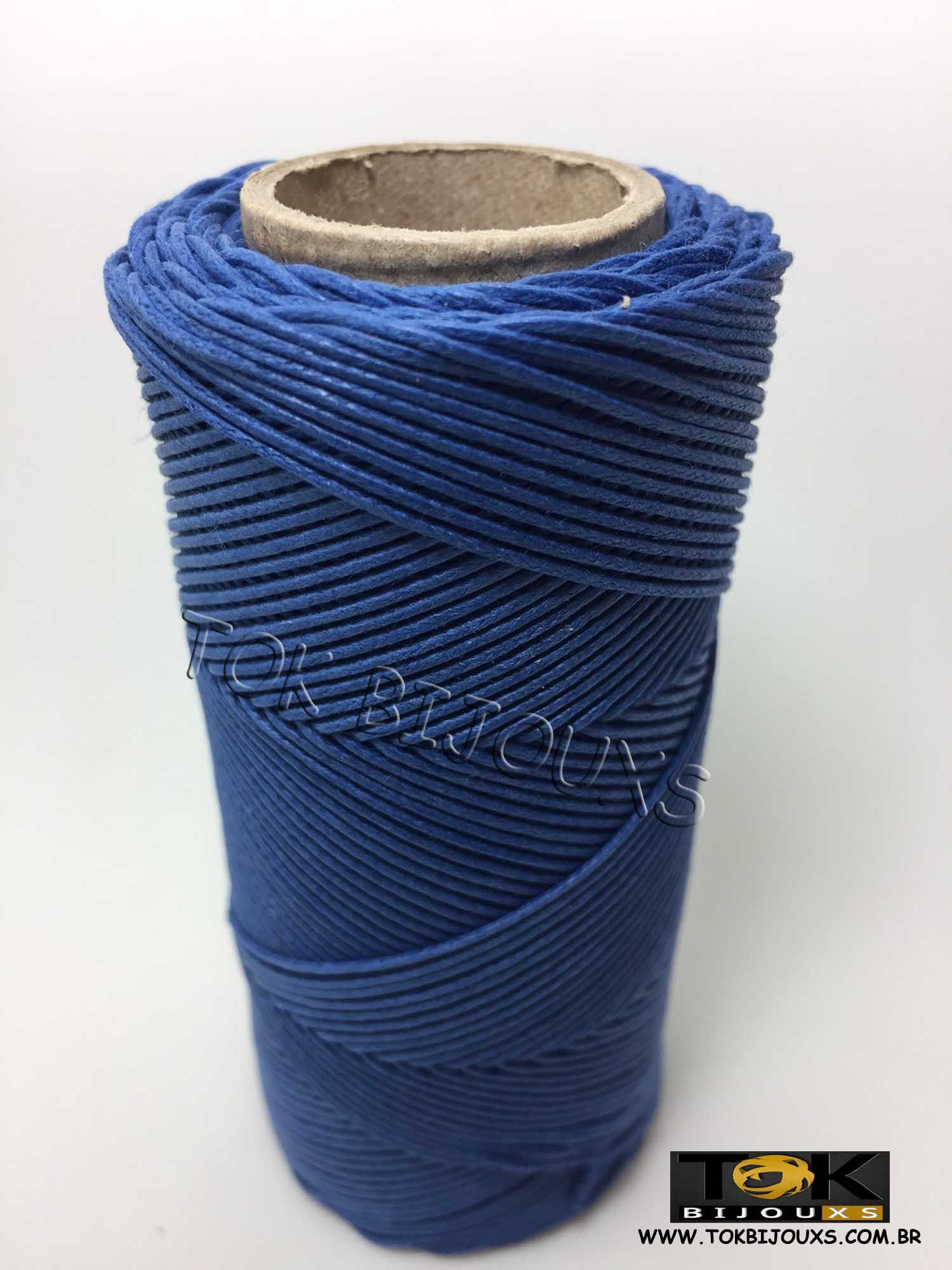 Cordão Encerado Algodão - 1mm - Azul Royal