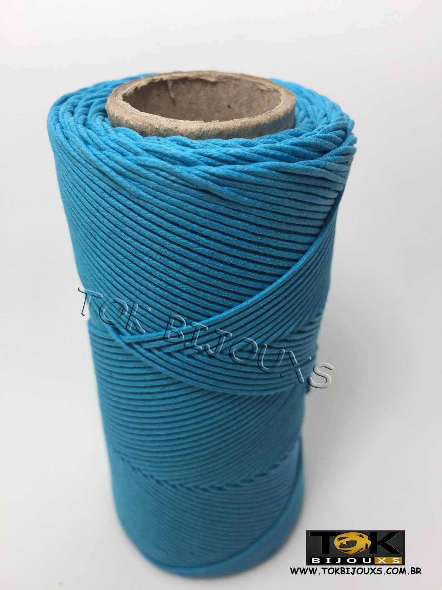 Cordão Encerado Algodão - 1mm - Azul Turquesa