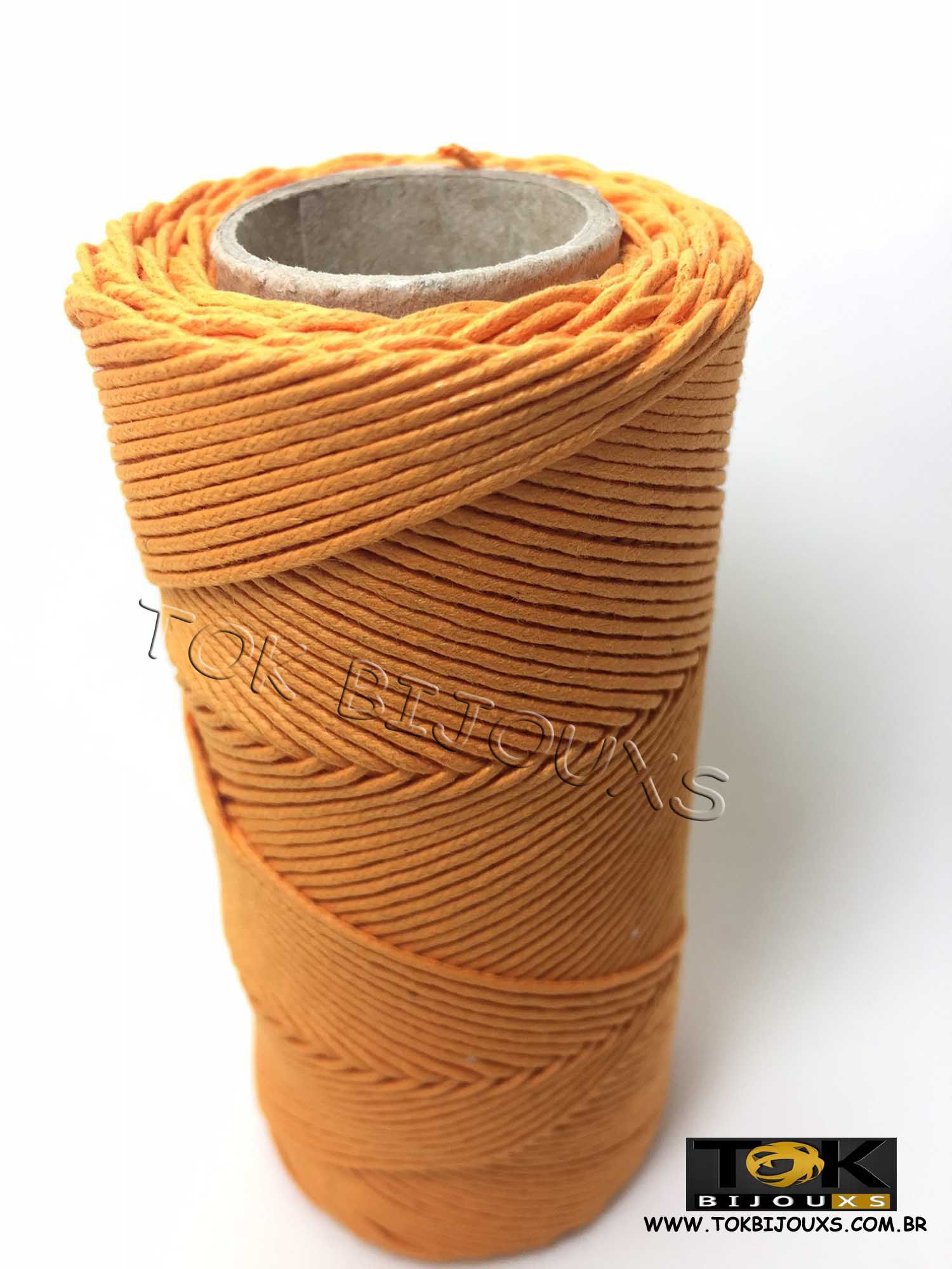 Cordão Encerado Algodão - 1mm - Laranja