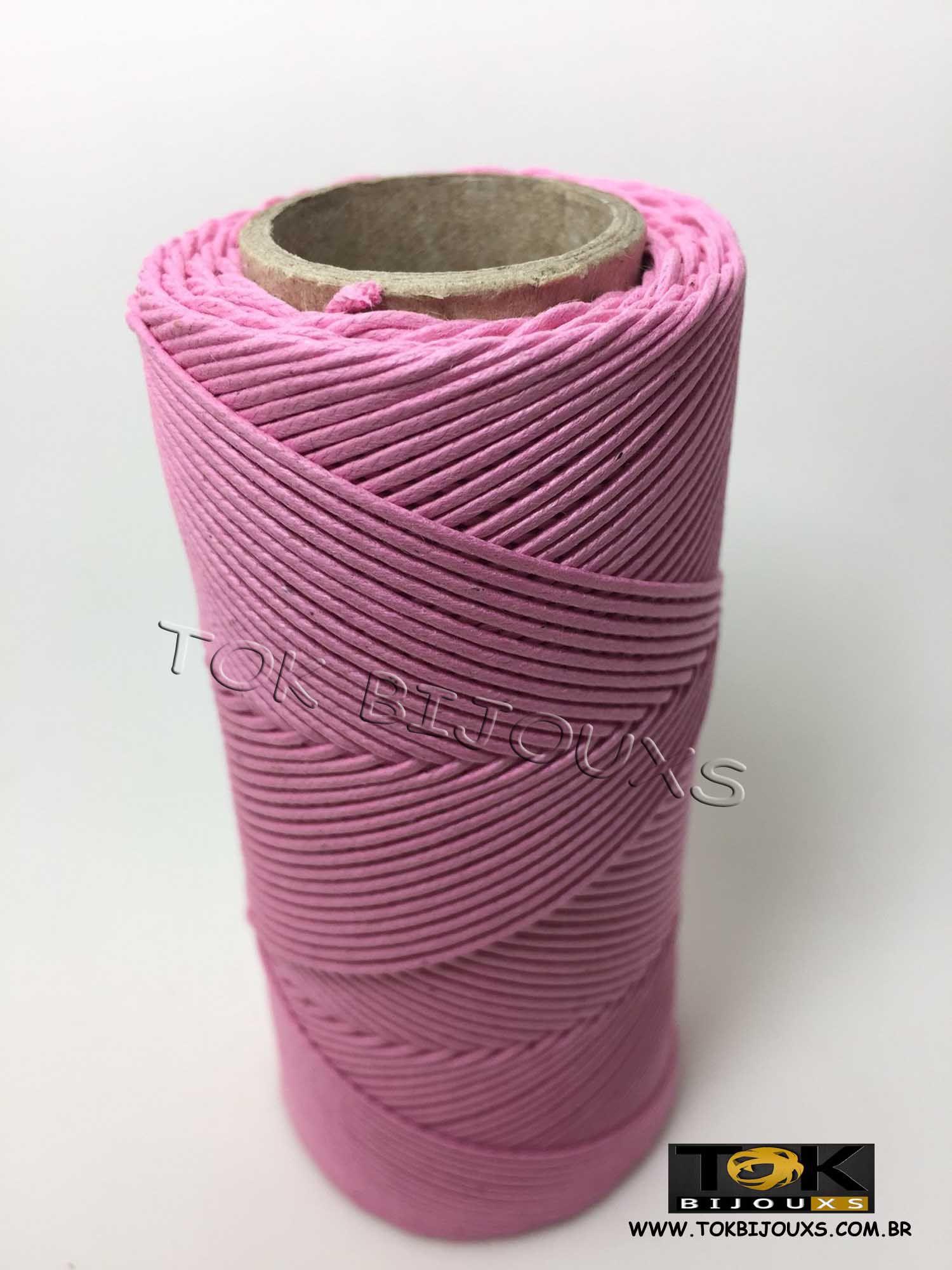 Cordão Encerado Algodão - 1mm - Rosa Bebe