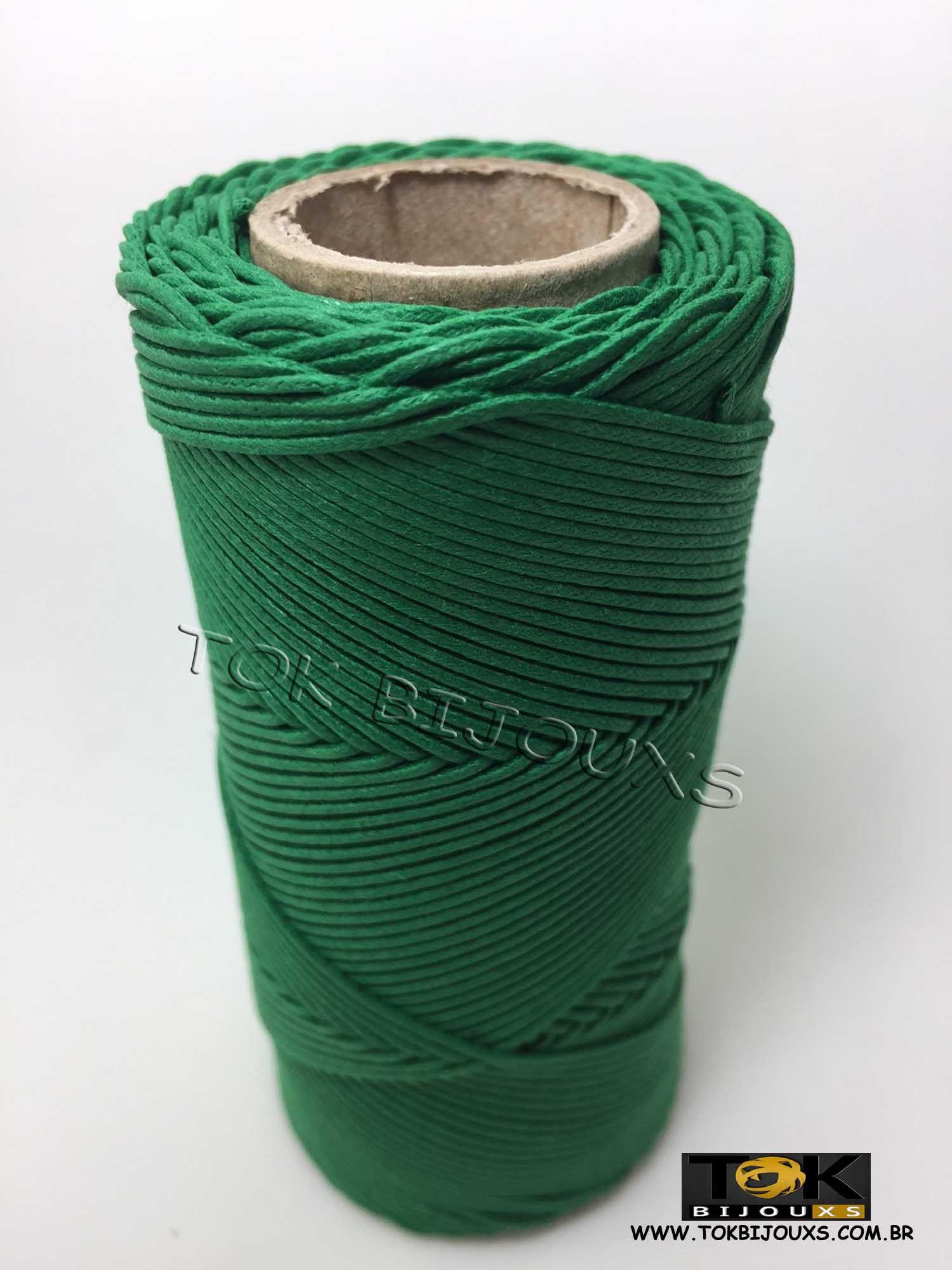 Cordão Encerado Algodão - 1mm - Verde Bandeira