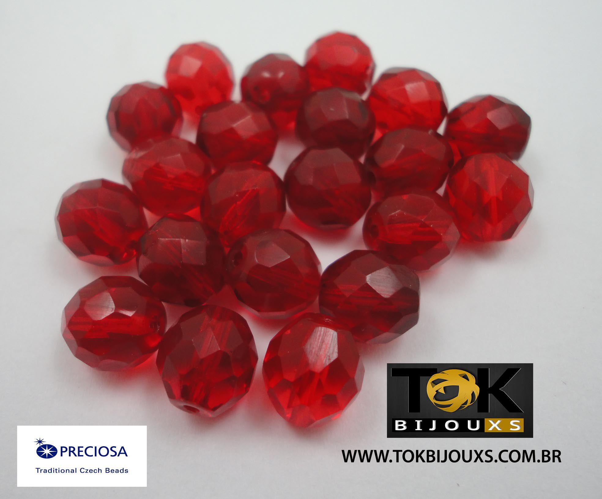 Cristal Jablonex/Preciosa® 10mm - 600  Unid - Vermelho Transparente