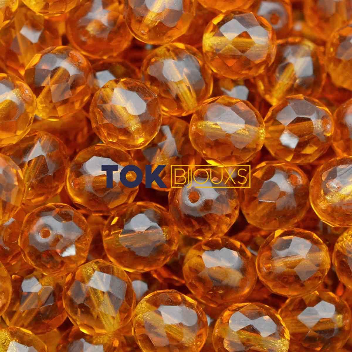 Cristal Jablonex / Preciosa ® 8mm - Amarelo Ouro Transparente - Unidade
