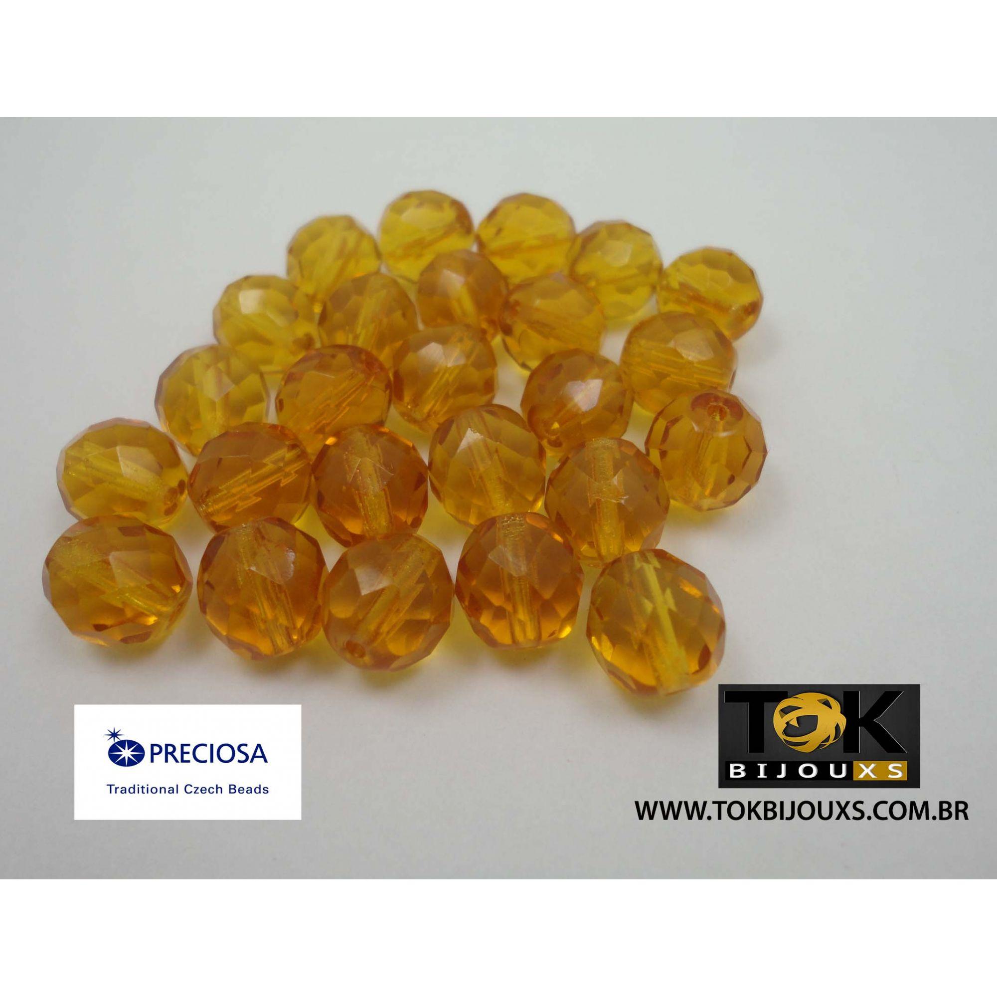 Cristal Jablonex/Preciosa® - Amarelo Ouro Transparente 8mm - 25  Unid