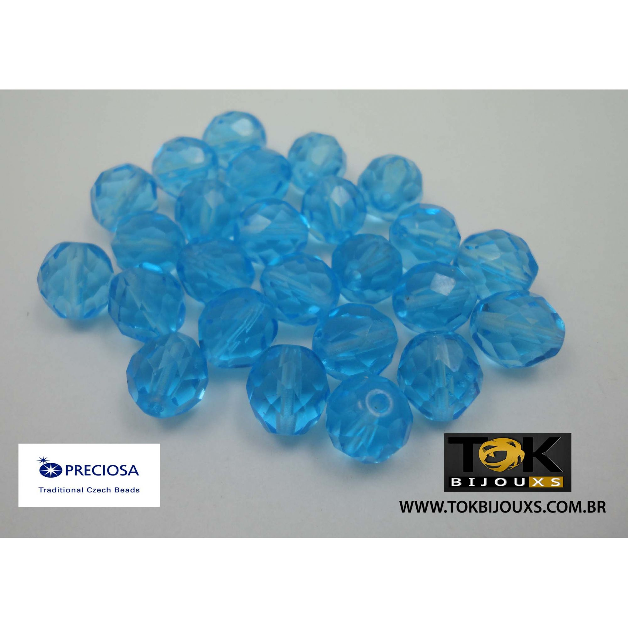 Cristal Jablonex/Preciosa® - Azul Claro Transparente 10mm - 25  Unid