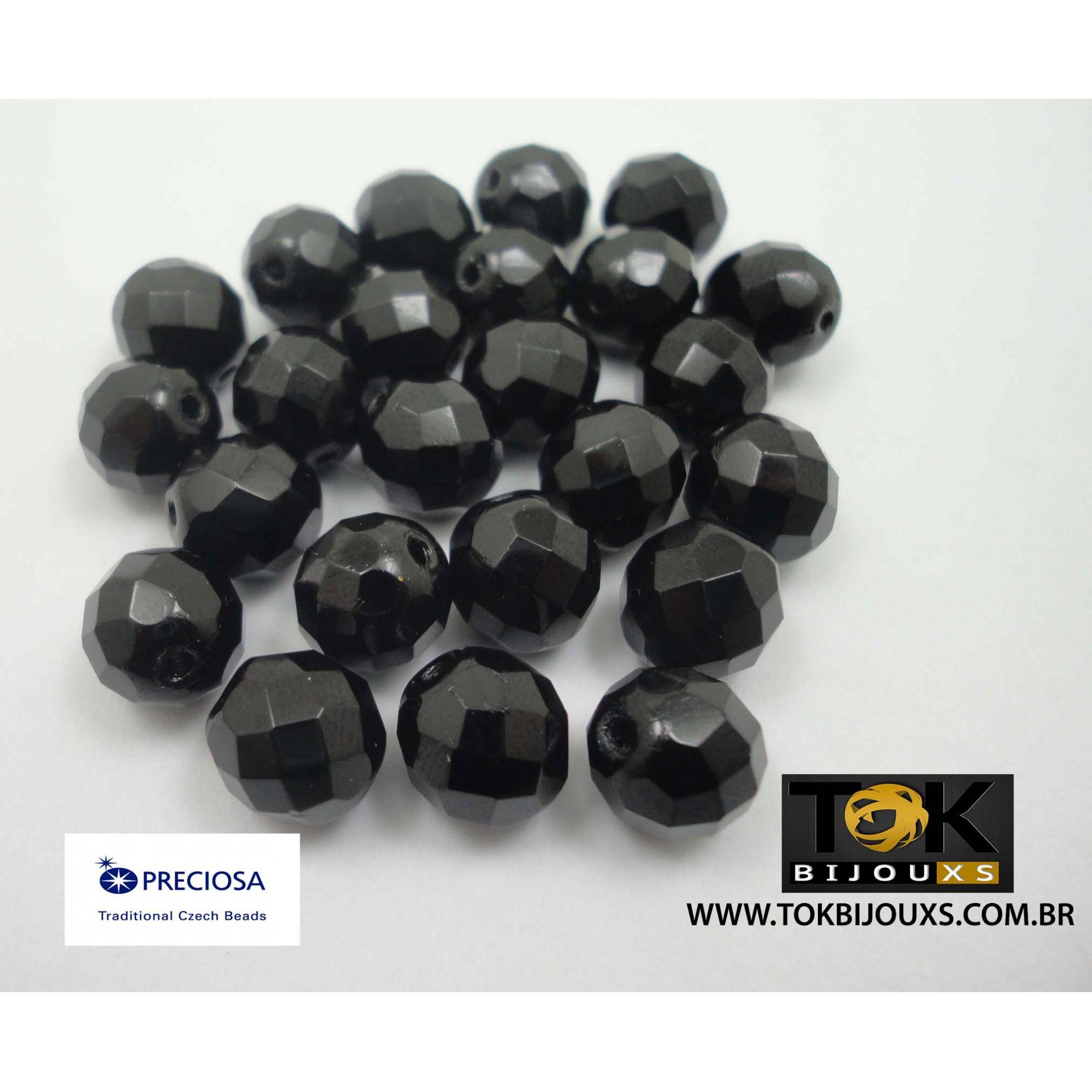 Cristal Jablonex/Preciosa® - Preto Opaco 10mm - 25  Unid