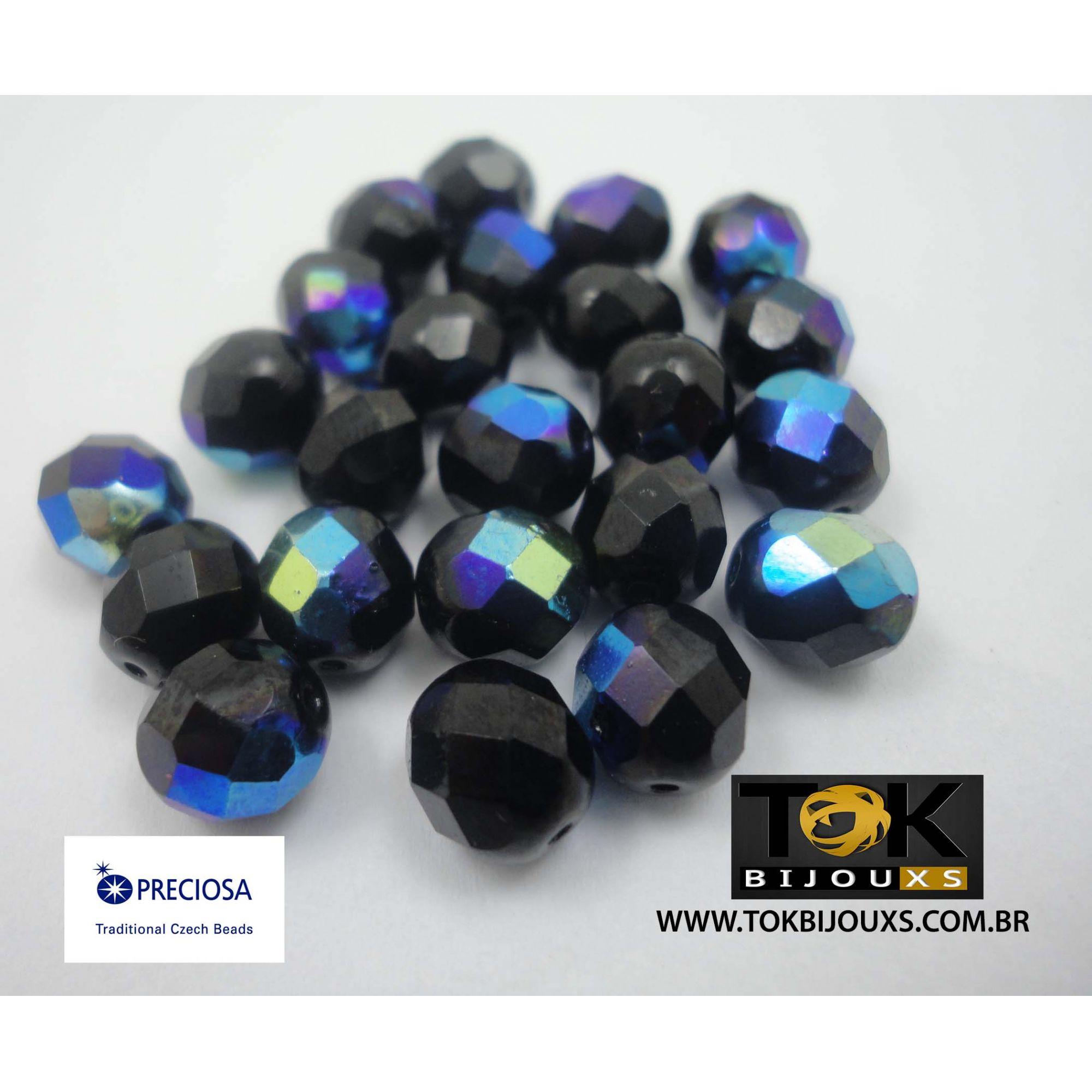 Cristal Jablonex/Preciosa® - Preto Opaco Irisado Ab 10mm - 25  Unid