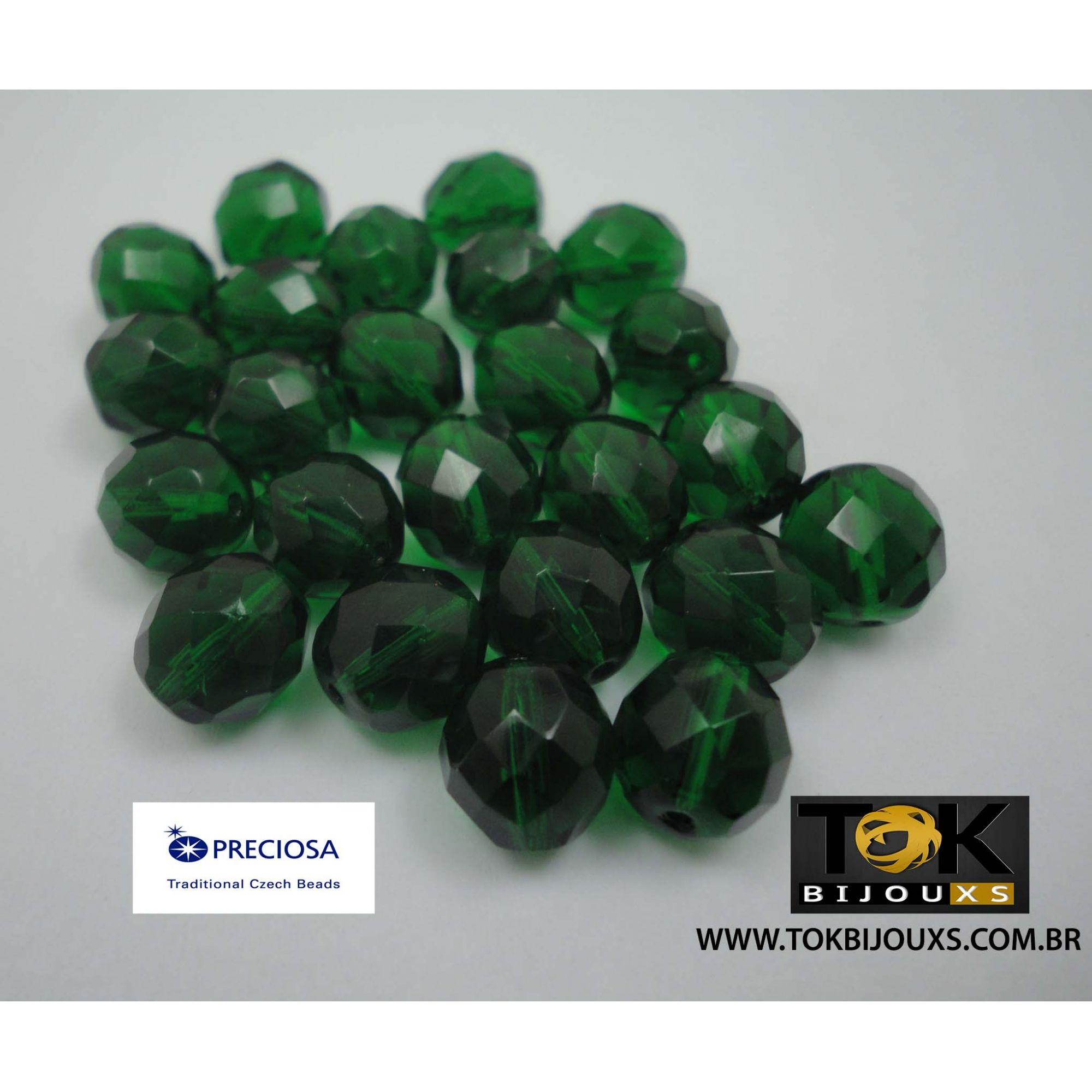 Cristal Jablonex/Preciosa® - Verde Escuro Transparente 10mm - 25  Unid