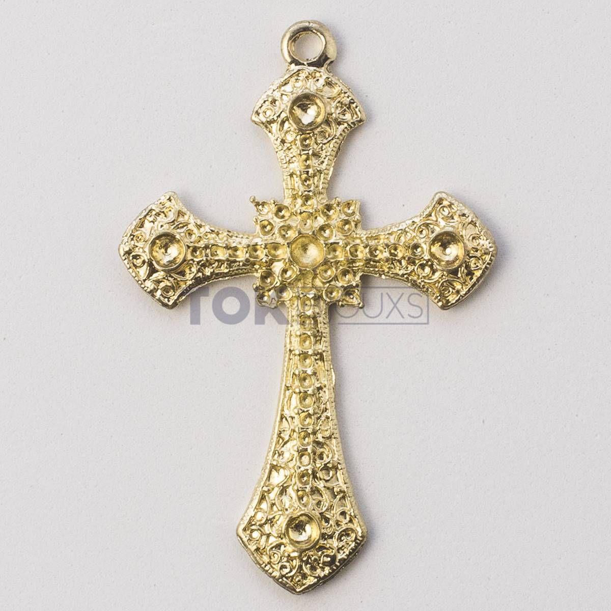 Cruz P/ Colagem Strass N.4 - Dourado - 1 Unid