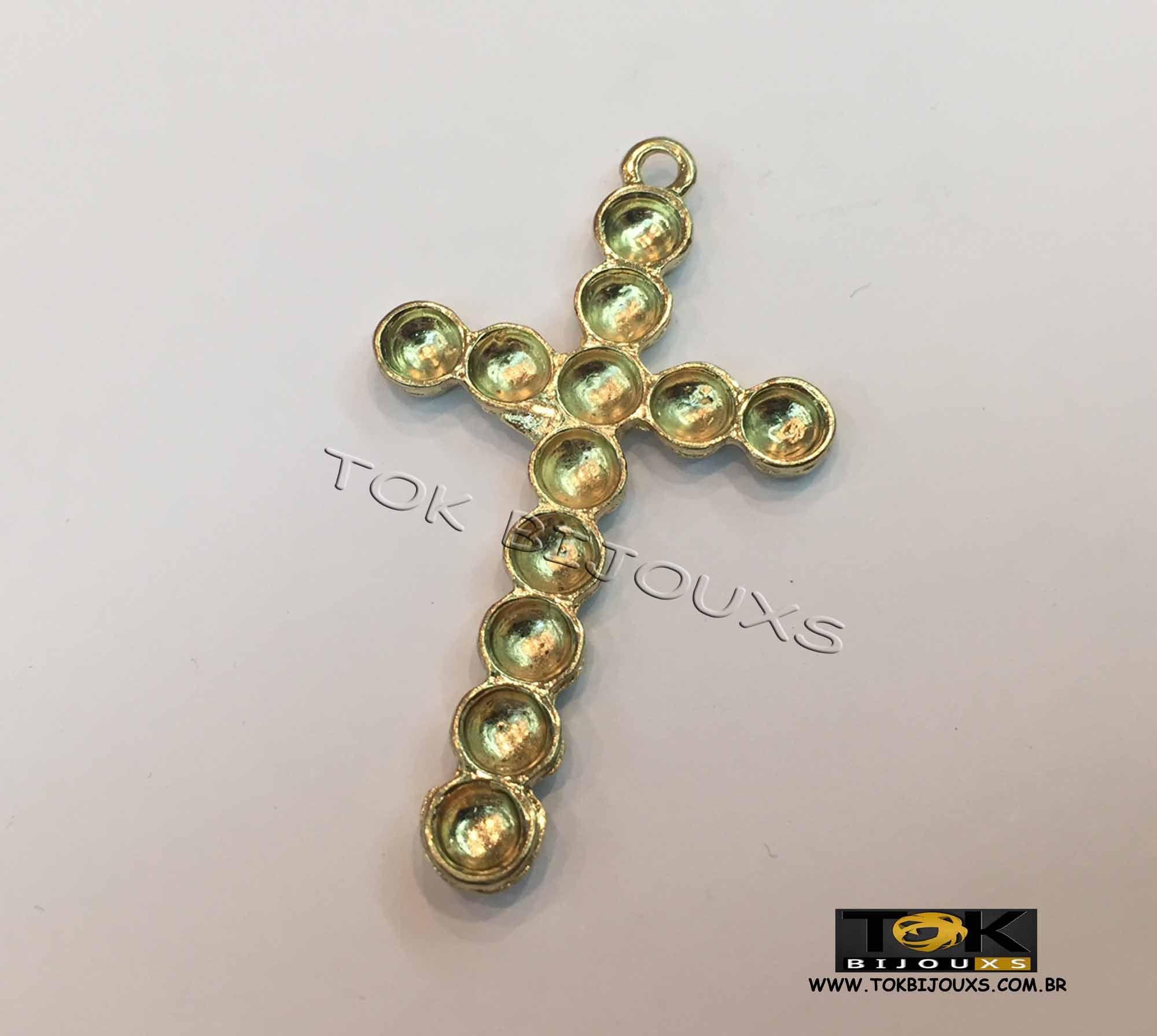Cruz P/ Colagem Strass N.9 - Dourado - 1 Unid