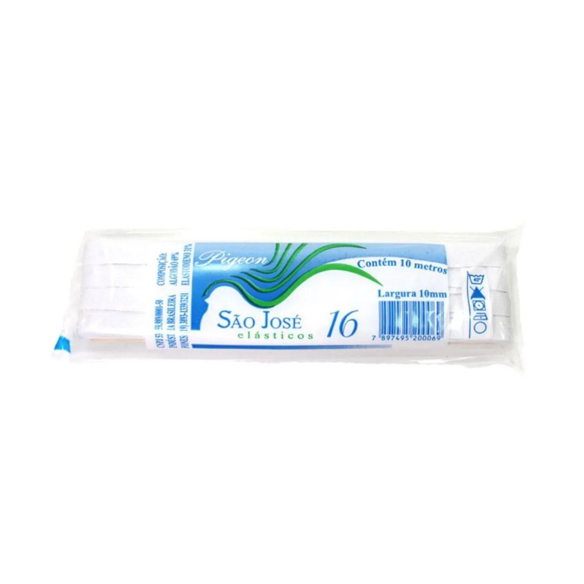 Elástico Chato - Nº16 (10mm) - Branco - 10 Metros