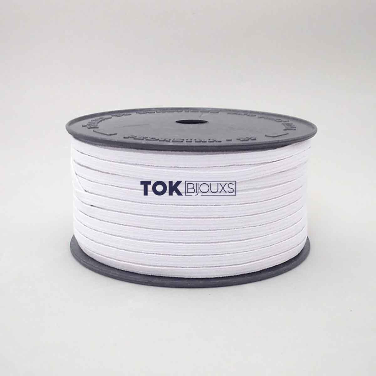 Elástico Chato - Nº8 (5mm) - Branco - 100 Metros