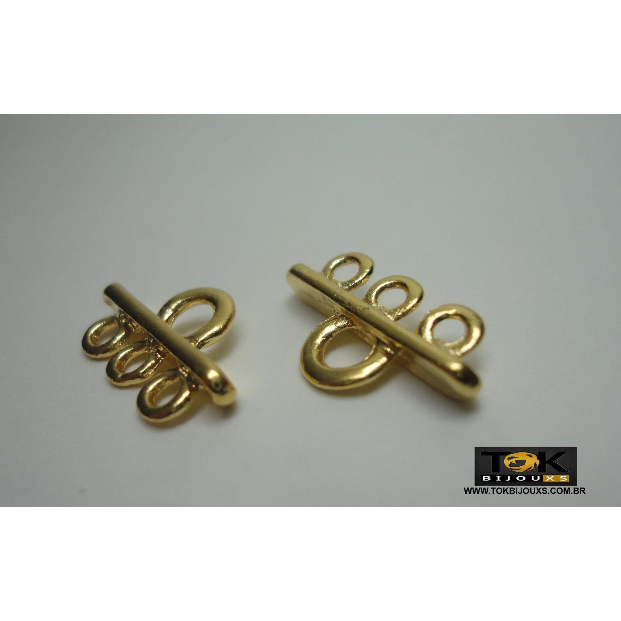 Entremeio Cabide - 3 Saídas - Dourado - 4 Unid