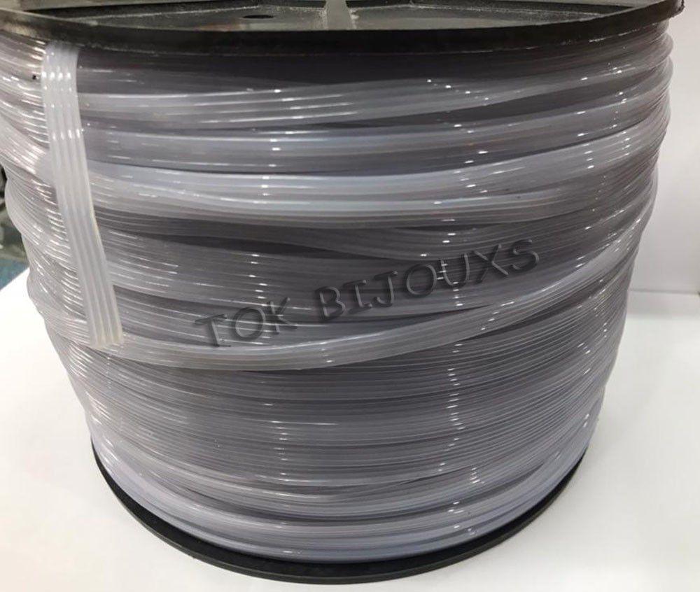 Fio Silicone Sem Elasticidade - Transparente - Gráfica / Crachá - Rolo 7Kg - 2mm