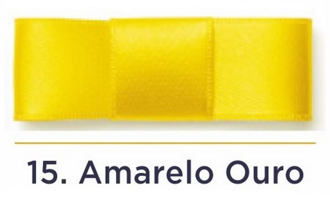 Fita Cetim N.0 - 3mm - COR (15) Amarelo Ouro - Rolo 100 Metros