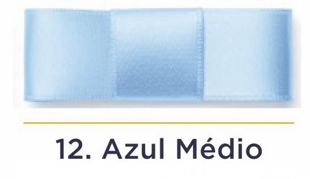 Fita Cetim N.0 - 3mm - COR (12) Azul Médio - Rolo 100 Metros
