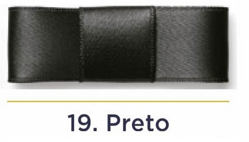 Fita Cetim N.0 - 3mm - COR (19) Preto - Rolo 100 Metros