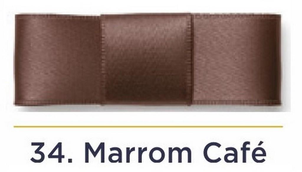Fita Cetim N.0 - 3mm - COR (34) Marrom Café - Rolo 100 Metros