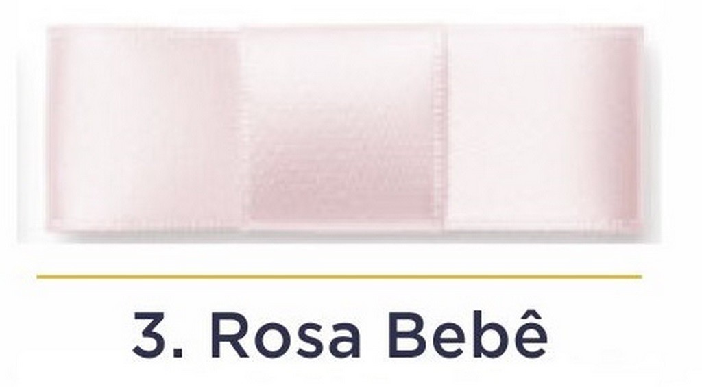 Fita Cetim N.0 - 3mm - COR (3) Rosa bebê - Rolo 100 Metros