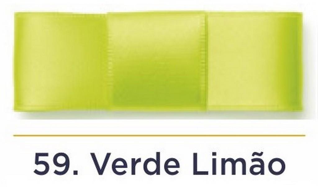 Fita Cetim N.0 - 3mm - COR (59) Verde Limão - Rolo 100 Metros
