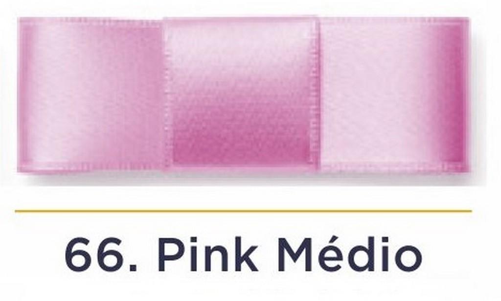 Fita Cetim N.0 - 3mm - COR (66) Pink Médio - Rolo 100 Metros