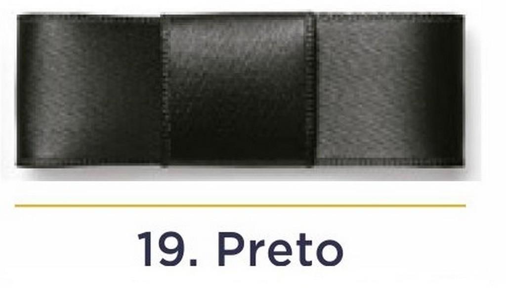 Fita Cetim N.1 - 7mm - 100 Metros - COR (19) Preto