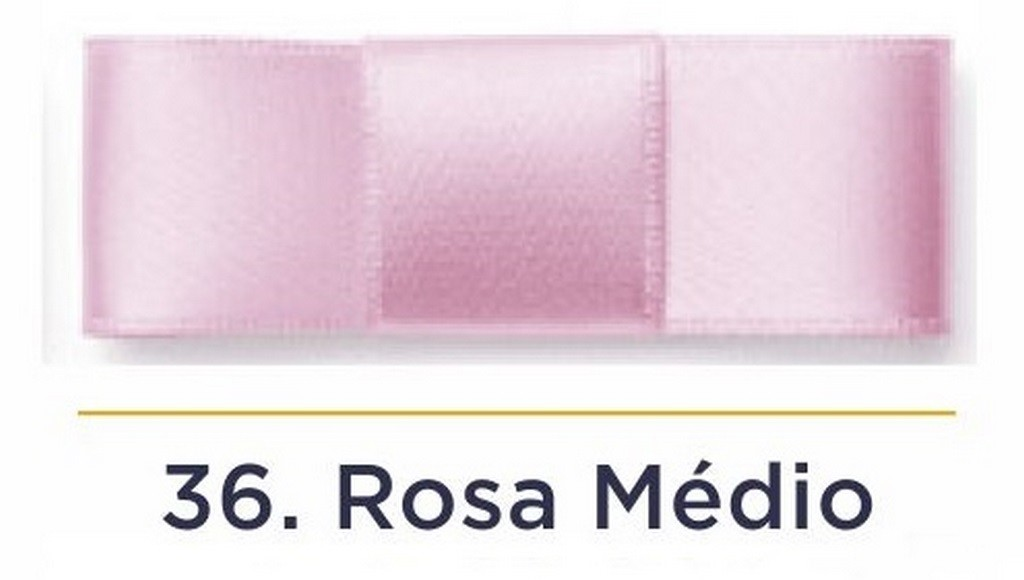Fita Cetim N.1 - 7mm - 100 Metros - COR (36) Rosa Médio