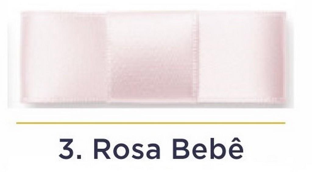 Fita Cetim N.1 - 7mm - 100 Metros - COR (3) Rosa Bebê