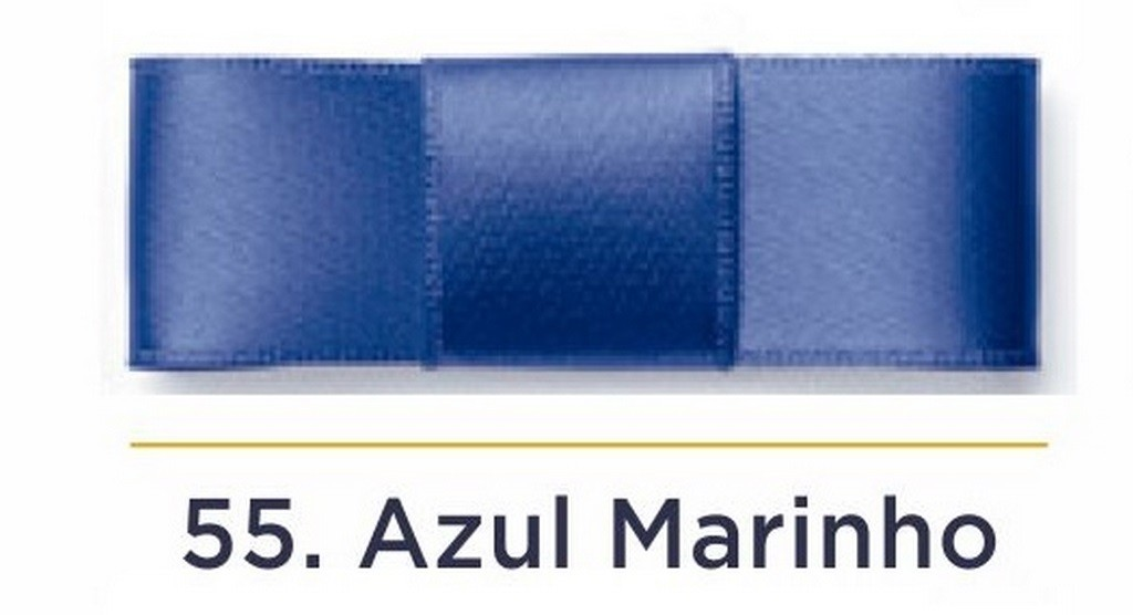 Fita Cetim N.1 - 7mm - 100 Metros - COR (55) Azul Marinho