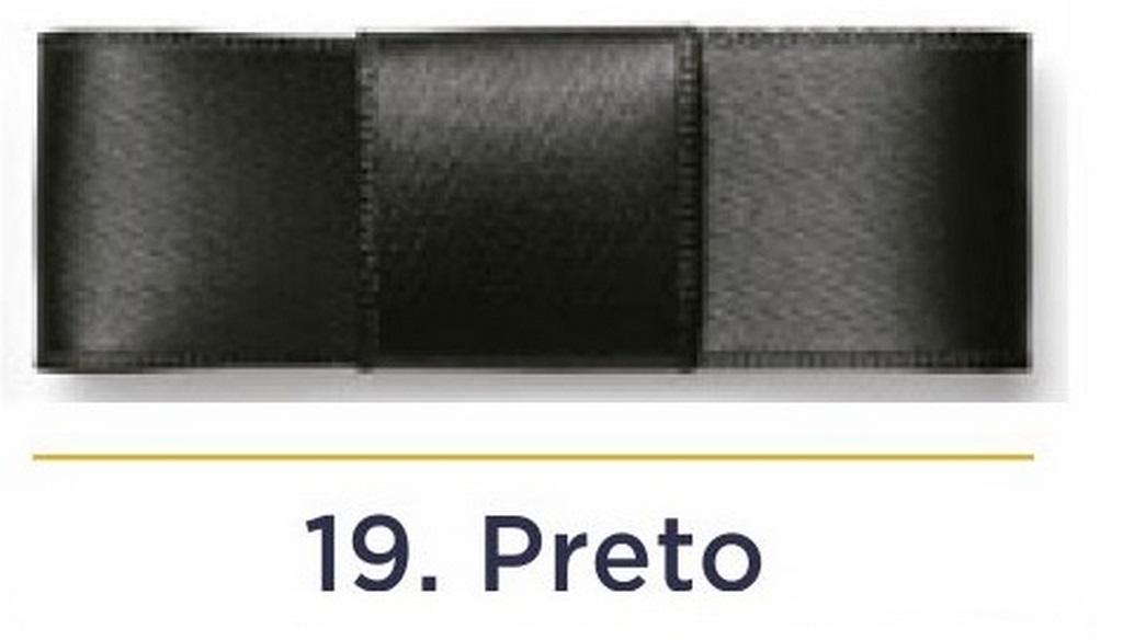 Fita Cetim N.3 - 15mm - 50 Metros - COR (19) Preto