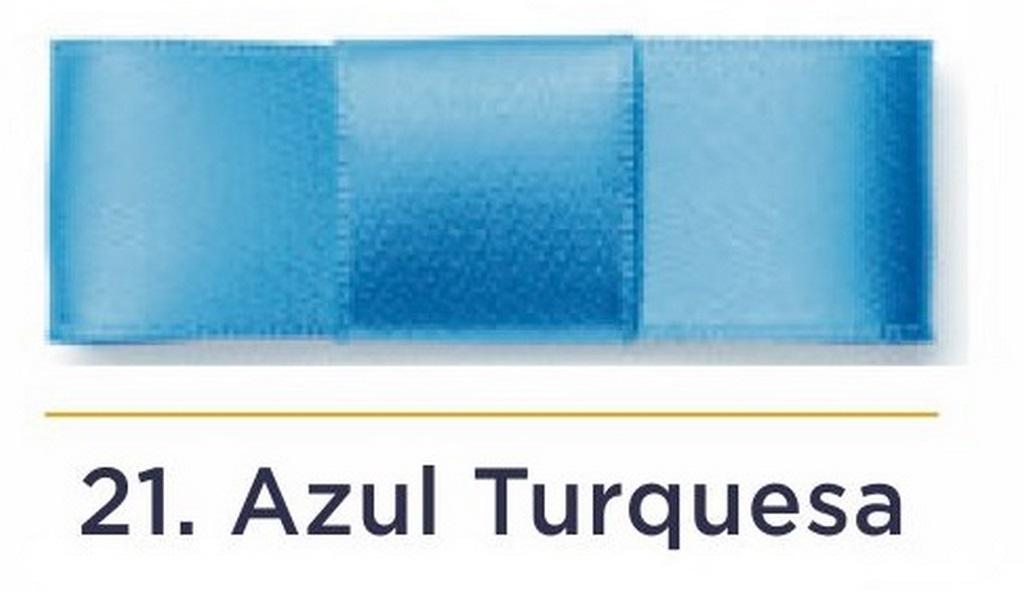 Fita Cetim N.3 - 15mm - 50 Metros - COR (21) Azul Turquesa
