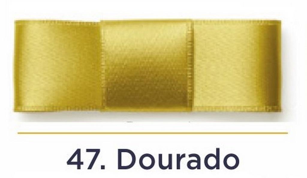 Fita Cetim N.3 - 15mm - 50 Metros - COR (47) Dourado