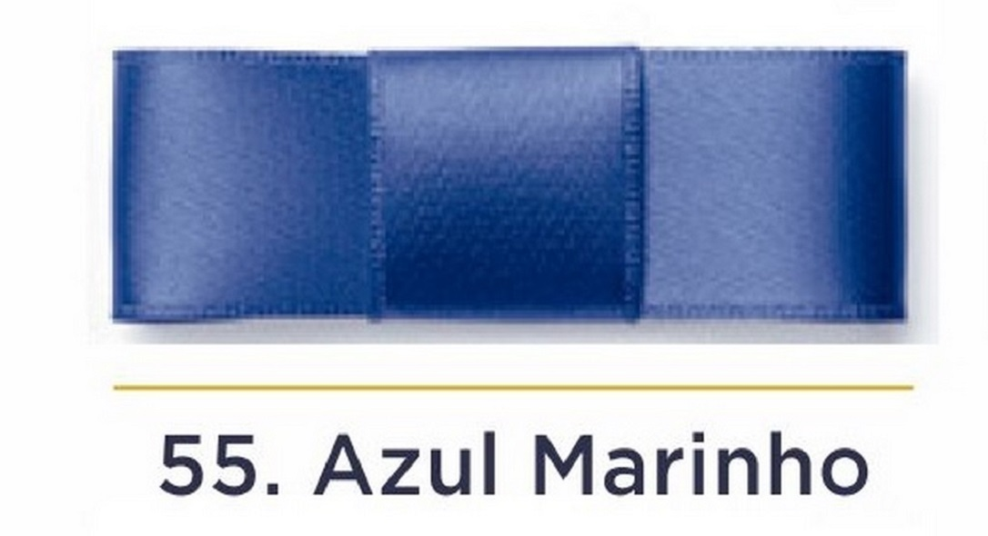 Fita Cetim N.3 - 15mm - 50 Metros - COR (55) Azul Marinho