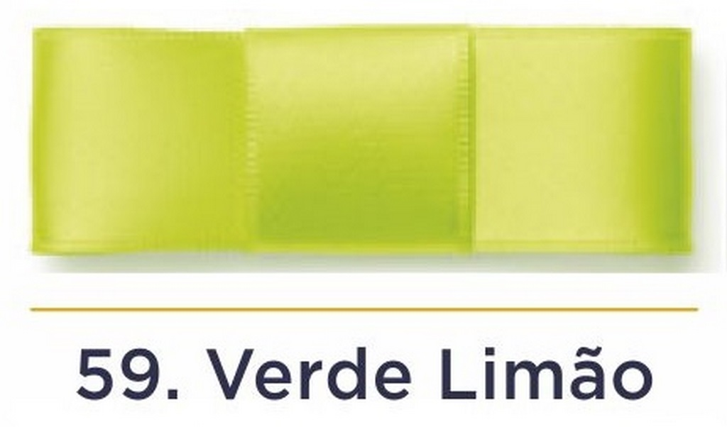 Fita Cetim N.3 - 15mm - 50 Metros - COR (59) Verde Limão