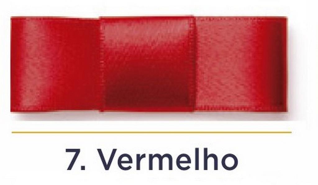 Fita Cetim N.3 - 15mm - 50 Metros - COR (7) Vermelho