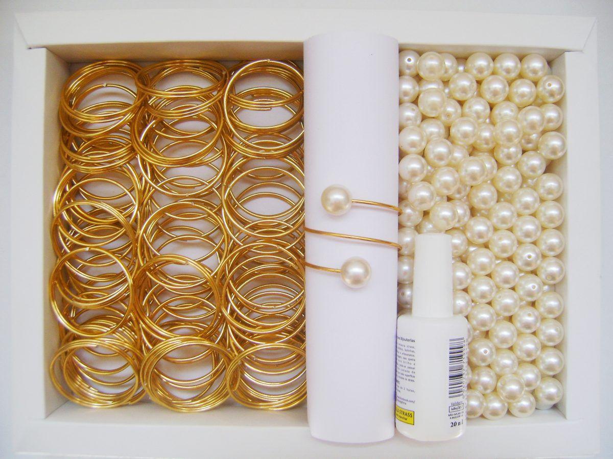 Kit Completo - 50 Porta Guardanapo Argola Dupla Para Montagem Dourado