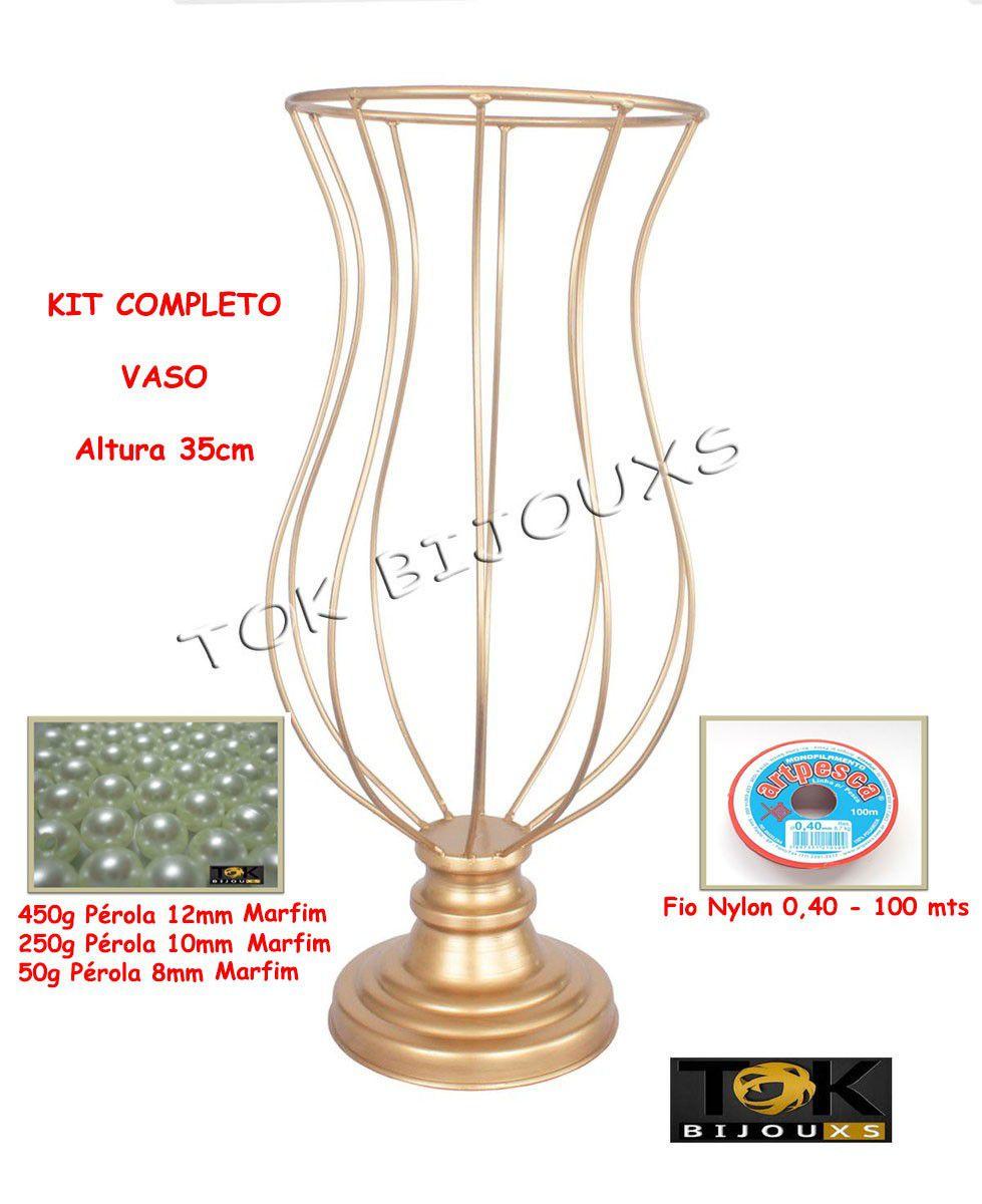 Kit Montagem - Vaso 35cm Vaso Pedraria - Pérolas