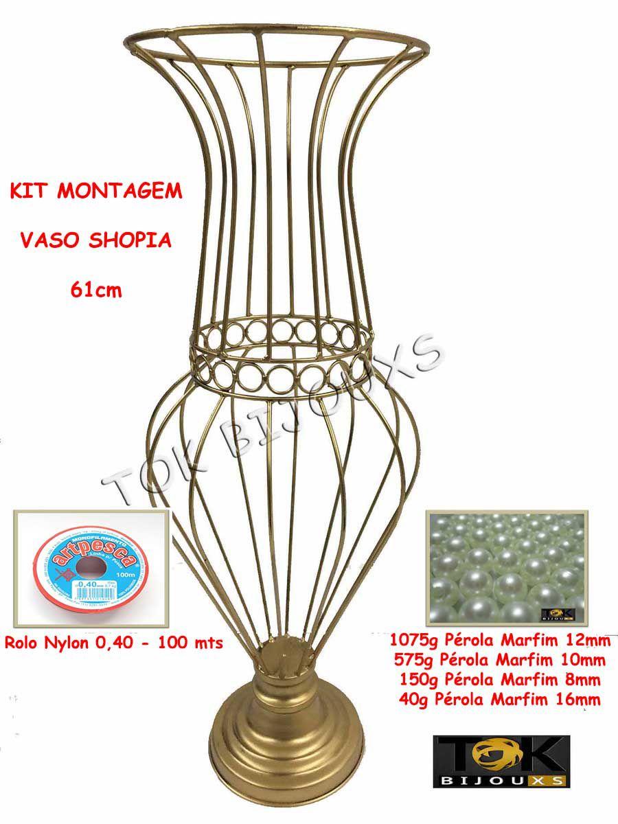 Kit Montagem - Vaso Sophia 60cm Vaso Pedraria - Pérolas