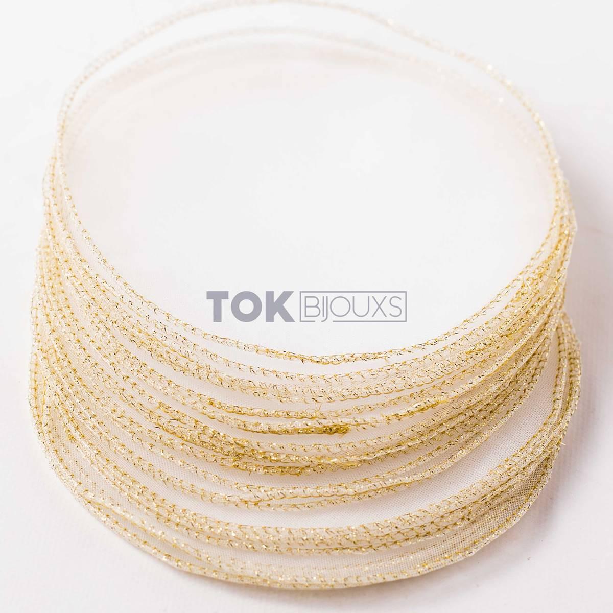 Lenço de Organza -  15cm - Fio Dourado - 25 unid