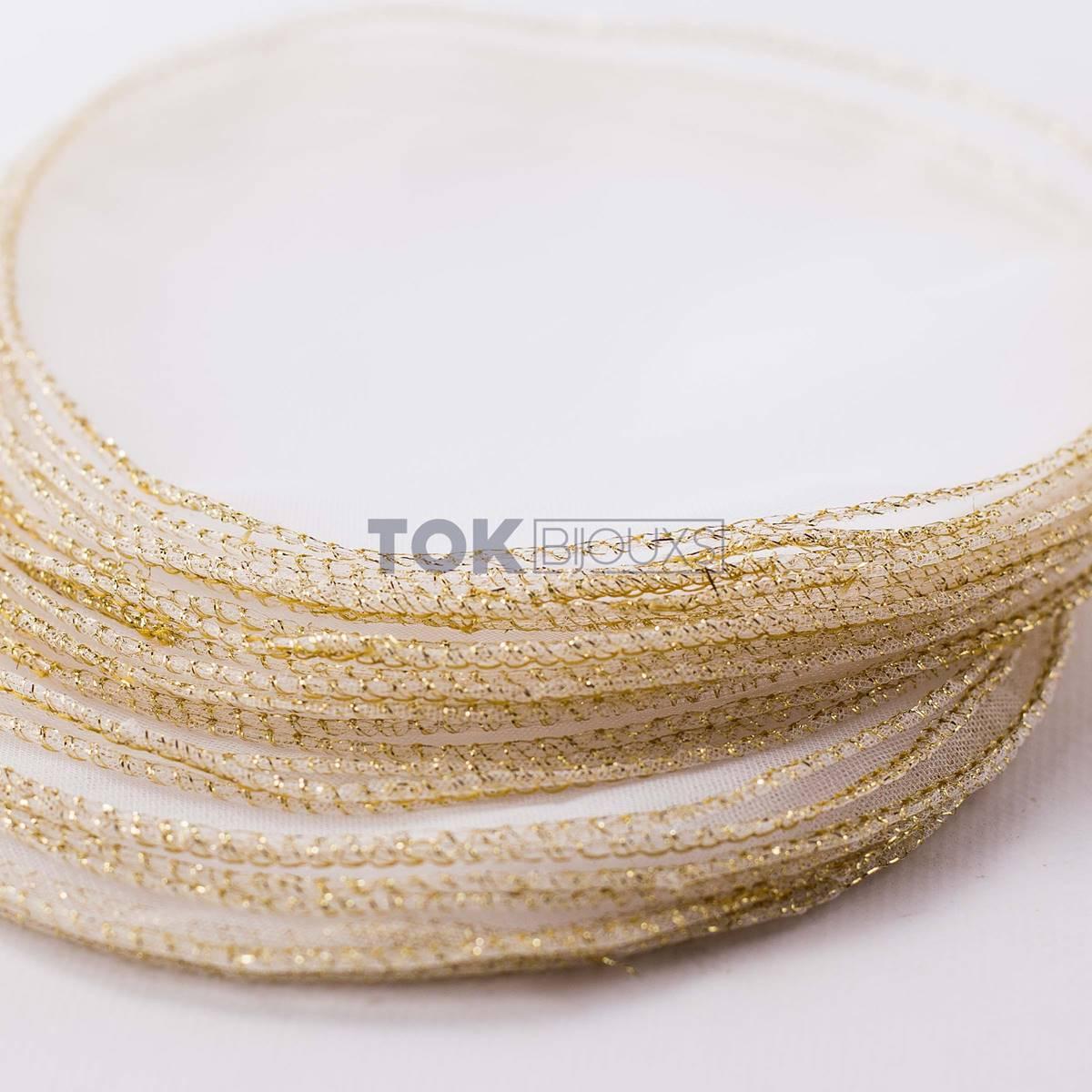 Lenço de Organza -  25cm - Fio Dourado - 25 unid