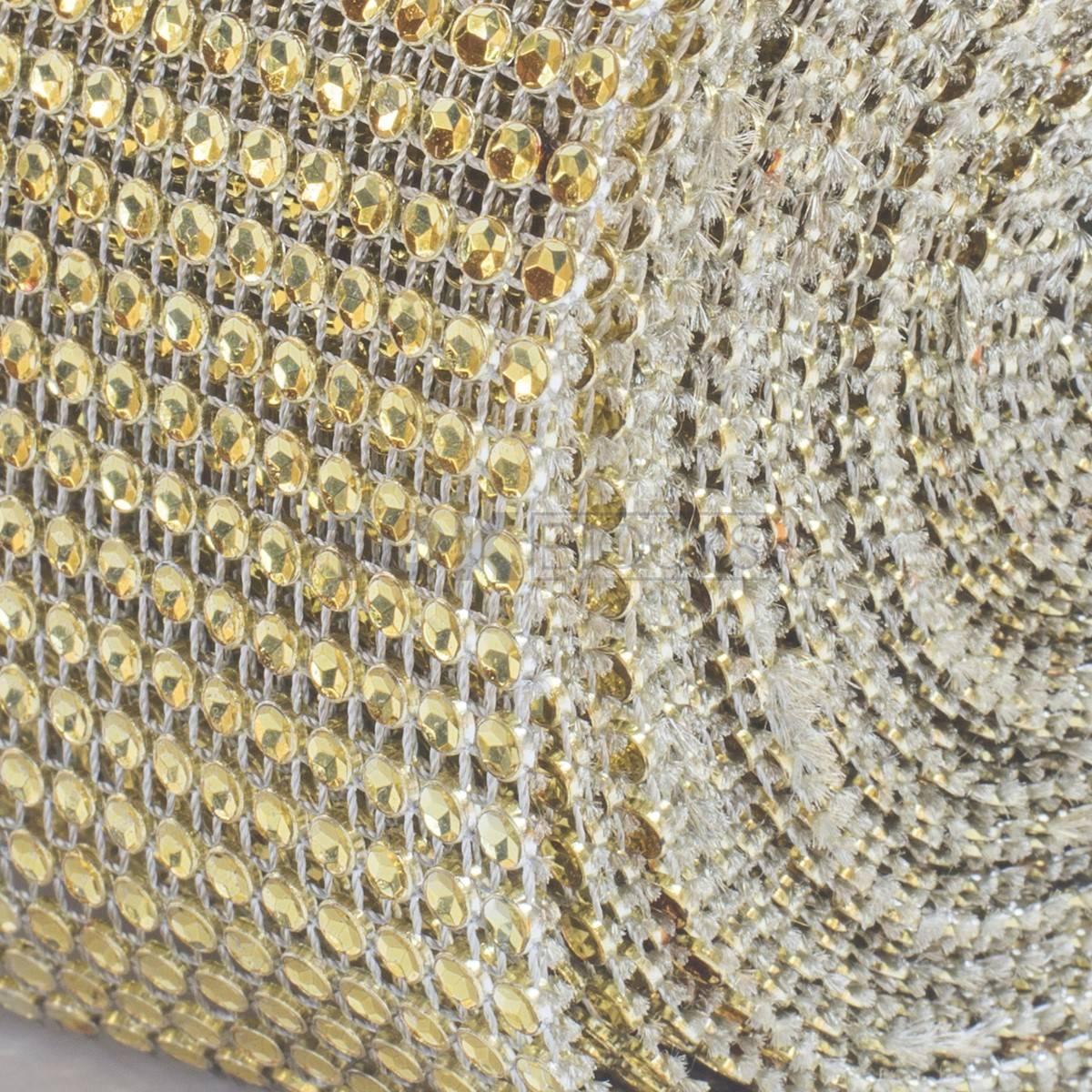 Manta Strass Acrílico - Dourado - 10cm x 9,14m