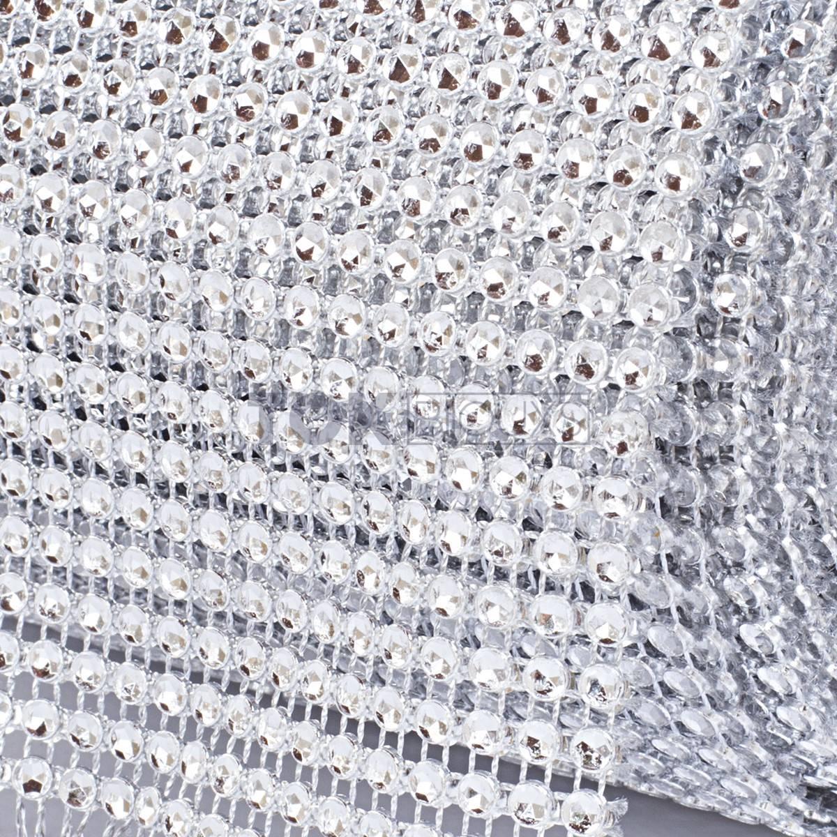 Manta Strass Acrílico - Prata - 10cm x 9,14m