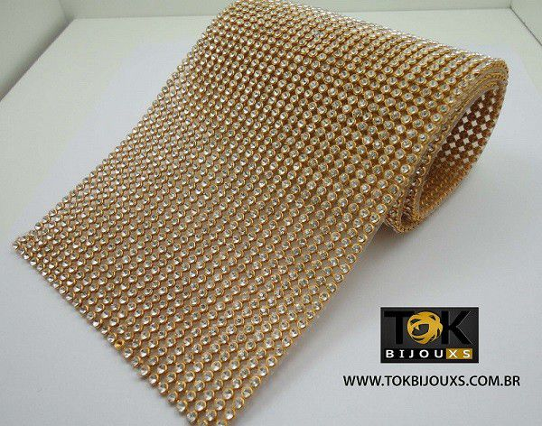 Manta Strass SS10 - Ouro Crystal 10cm X 45cm