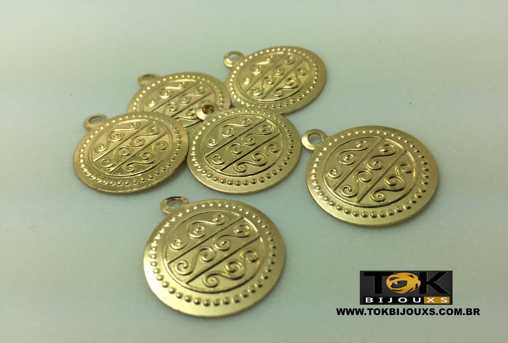 Medalha Média Cigana - 20mm - Dourado - 25 Unid